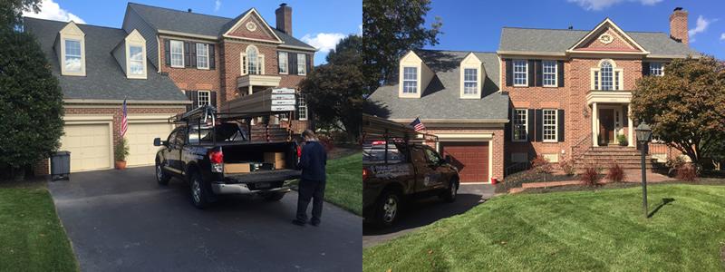 before and after garage door install Ashburn VA